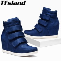 Tfsland New Women Wedges HOOK LOOP Shoes Breathable Height Increasing Ankle Boots Soft Sole Sneakers Zapatos Skateboarding Shoes