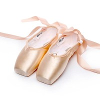 Satin Canvas Pointe Shoes With Ribbon And Gel Toe Pad Girls Women's Pink Professional Ballet Dance Pointe Toe Shoes 31-42W 4041