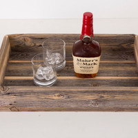 Reclaimed Wood Cocktail Tray With Metal Handle - FREE US SHIPPING