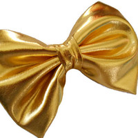 Gold hair bow, big fabric hairbows, glam bows, gold hair accessories, shiny metallic fabric hair clip, woman and girls boutique hairclips