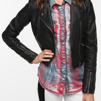 Members Only Quilted Faux Leater Quilted Jacket