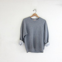 vintage heather gray sweatshirt. slouchy sweater. crewneck pullover.