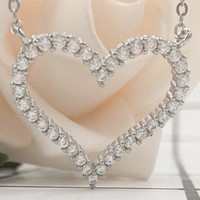 TIFFANY sterling silver necklace women's heart clavicle chain simple diamond zircon heart-shaped pendant T home heart-shaped necklace