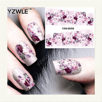 YZWLE 1 Sheet DIY Designer Water Transfer Nails Art Sticker Nail Water Decals Nail Stickers Accessories (YZW-8058)