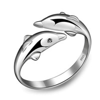 Dolphin Opening Adjustable Rings 925 Sterling Silver