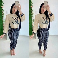 Louis Vuitton LV New fashion more letter print top and pants two piece suit