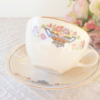 Vintage Cottage Style Flower Basket Tea Cup Set, Shabby Chic, Tea Party, French Farmhouse, Weddings, Bridal Luncheon Gift