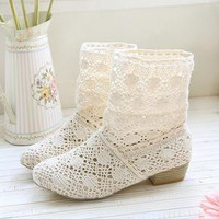 Lace casual short boots shoes in beige