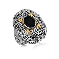 18K Yellow Gold and Sterling Silver Fancy Filigree Adorned Black Onyx Ring: Size 7