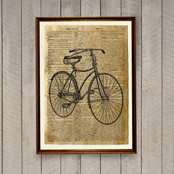 Dictionary print Bicycle decor Vintage poster Antique illustration WA549
