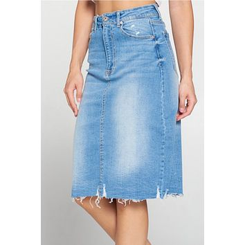 Mid Waist Frayed Ripped Hem Denim Midi Skirt with Pockets