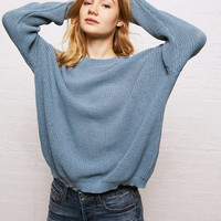 Don't Ask Why Cold Shoulder Cutout Sweater, Soft Blue