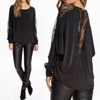 Batwing Sleeve Lace Patchwork Loose Blouse