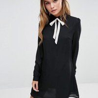 Fashion Union Shirt Dress with Tie Neck at asos.com