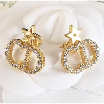 Dior New fashion star diamond letter earring women jewelry