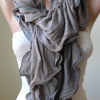 Trendy Scarf - Ruffle Scarf - Combed Cotton Scarf