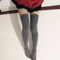 Top Seller Newest Fashion Sexy Socks Cotton Over the Knee Socks Thigh High Stocking Thinner (dark grey)