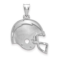 Sterling Silver Los Angeles Chargers Football Helmet Logo Pendant