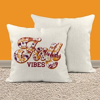 """Fall Vibes Pillow Cover Retro Throw Pillow Case Tie Dye Fall Pillow Covering Vintage Fall Home Decor Boho 16"""" Square"""