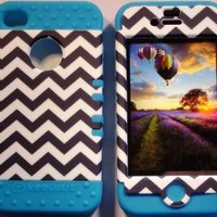 Cellphone Trendz (TM) Black and White Aztec on Blue skin 2 in 1 High Impact Hybrid Bumper Cover Case for Apple iphone 4 4S + Free Wristband Accessory - Cellphone Trendz (TM)