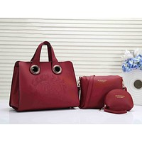 BURBERRY Women Leather Handbag Tote Shoulder Bag Clutch Bag Purse Set Three-Piece Red