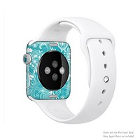 The Turquoise Fancy White Floral Design Full-Body Skin Set for the Apple Watch