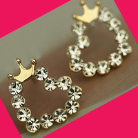 Crowned Shiny Hearts Rhinestone Earrings