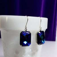 Blue Green Glass Earrings, Mothers Day, Mom Sister Grandmother Jewelry Gift, Statement Earrings