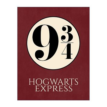 Hogwarts Express Platform 9 3/4 Harry Potter Train Platform Number Print on Red Parchment Background