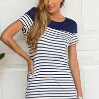 White Striped Curved Hem Mini Dress