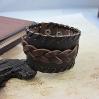 Brown Real Leather Woven Women Leather Cuff  Bracelet Friendship cuff   SL0245