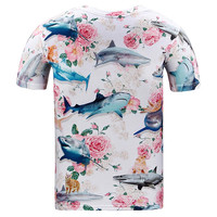Nice T-shirt Men/women summer tops tees shirt 3d print beautiful Roses flowers shark brand 3d t-shir