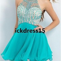 Beaded Halter Short Prom Dress Homecoming Graduation Formal Party Evening Dress