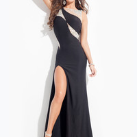 High Neck With High Slit Formal Prom Dress By Rachel Allan 6917