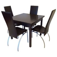 Pre-owned Dining Set - Dark Wood Extension Table & 4 Chairs