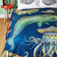 Nautical Creatures of the Whim-sea Duvet Cover in Full, Queen by ModCloth
