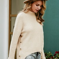 Simplee Drop Shoulder Buttoned Side Sweater