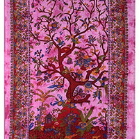 KayJayStyles Tree Of Life Wall Tapestry Home Decor Table Cloth Bed Spread 84 X 55 Inches (Pink)