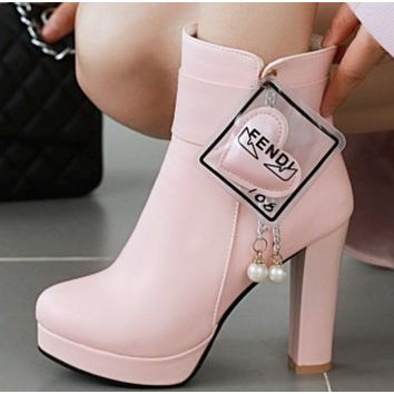 New female simple joker pure head pearl pendant decoration thick high-heeled ankle boots