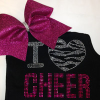 I Love Cheer Rhinestone Tank Top with matching Zebra Bow (7 colors to choose)