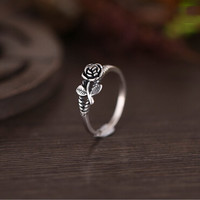 925-Sterling-Silver Vintage Thai Silver Rose Flower Adjustable Rings For Women Prevent Allergy bague femme C271