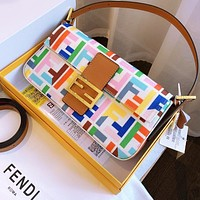 Alwayn Fendi old flower baguette print cotton and linen embroidery colorful bag