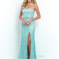 Blush Lace Covered Prom Dress 9932