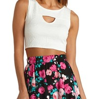 GEO-QUILTED CUT-OUT CROP TOP