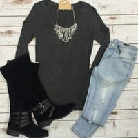 Long Sleeve Basic Scoop Tee: Charcoal