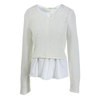 Elie Tahari Womens Elenore Layered Knit Pullover Top