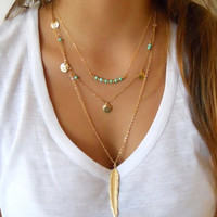 Simple fashion turquoise sequins multilayer metal feather necklaces for women