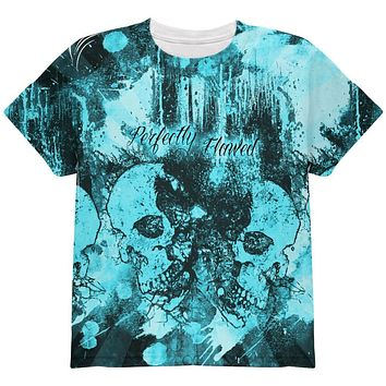 Perfectly Flawed Blue Dreaming Skulls All Over Youth T Shirt