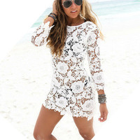 SIMPLE - Fashionable Lace Beach Off Shoulder One Piece Dress b4288