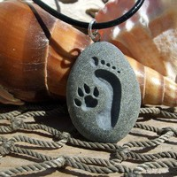 Footprint and Dog Paw Forever Friends - Marthas Vineyard Beach Stone | castastone - Pets on ArtFire